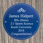 Personalised Blue National Heritage Plaque Garden Sign Quirky Gift For Fathers Day, Birthdays and New Home.